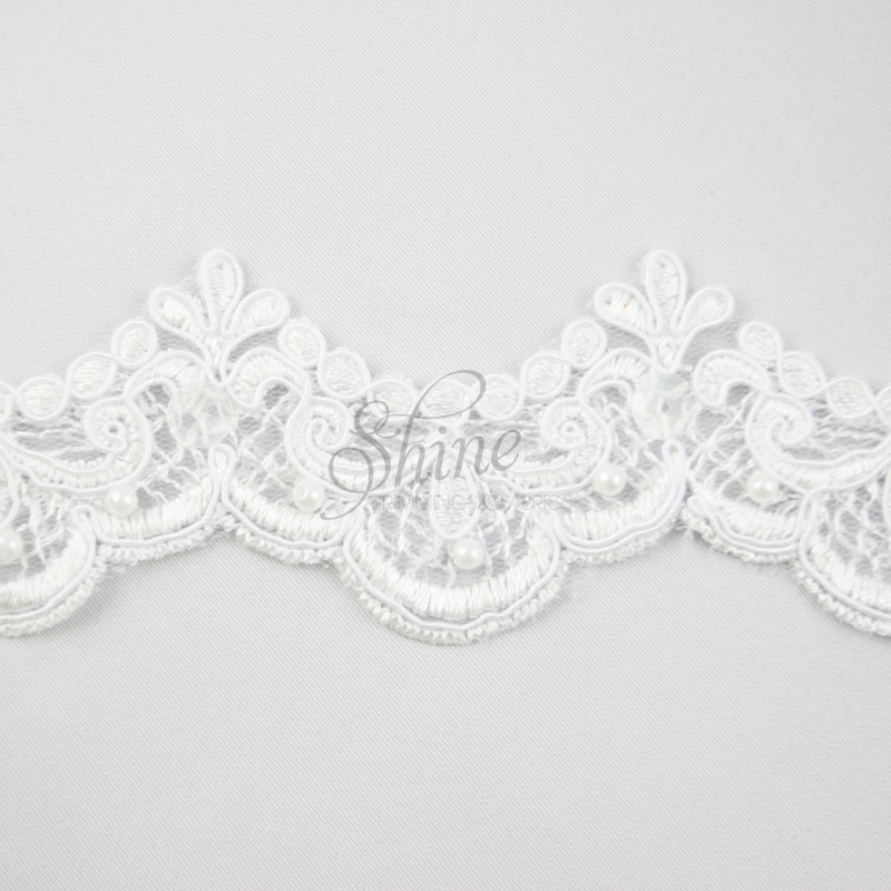 Beaded embroidery lace trimming shine trimmings fabrics
