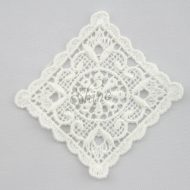 Vintage Inspired Scallopped Edge Square Guipure Lace Motif Ivory
