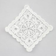 Vintage Inspired Scallopped Edge Square Guipure Lace Motif White
