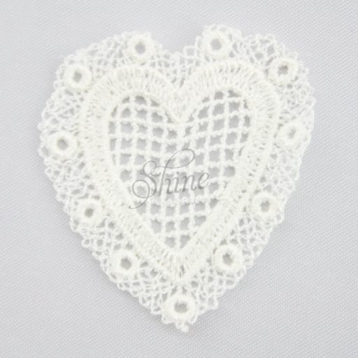 Be My Valentine Heart Guipure Lace Motif Ivory