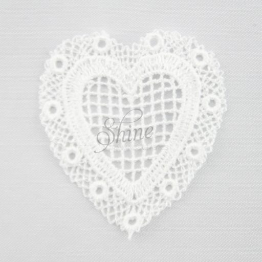 Be My Valentine Heart Guipure Lace Motif White