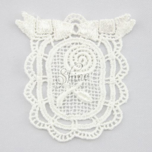 Framed Rose Guipure Lace Motif Ivory
