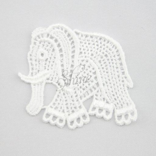 Elephant Guipure Lace Motif White