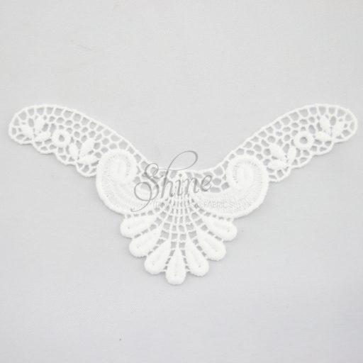Small Art Deco 'v' Guipure Lace Motif White
