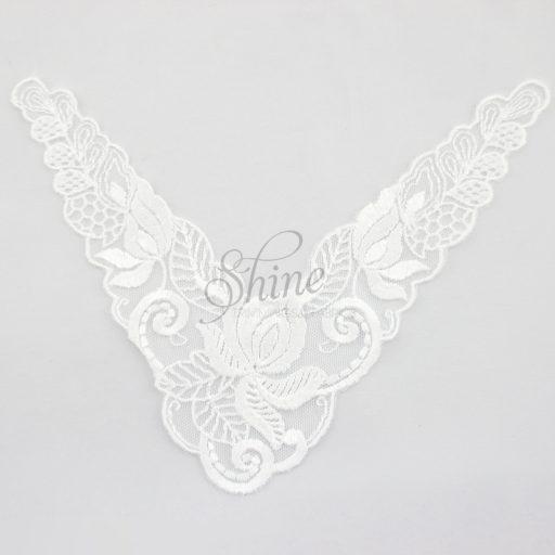 Floral Nylon Lace Collar Motif White