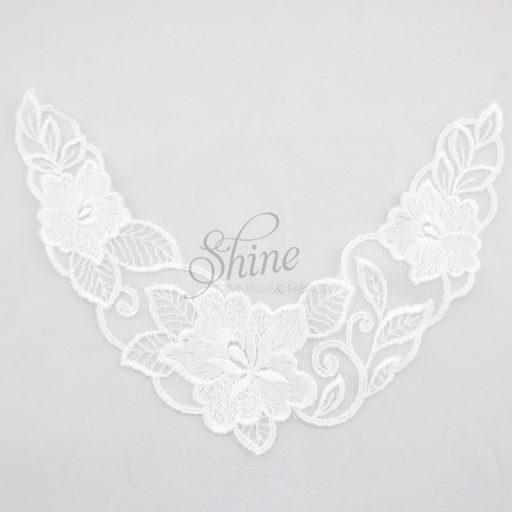 Floral Nylon Lace Chest Motif White
