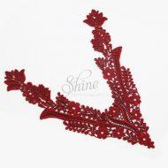 Floral Deep 'V' Burgundy Lace Motif