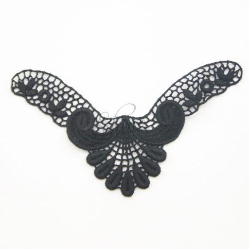 Small Art Deco 'V' Black Lace Motif