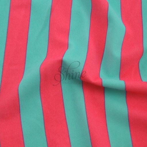 Stripe Print Stretch Spandex 18mm Mint Coral