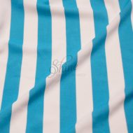 Stripe Print Stretch Spandex 18mm White Aqua
