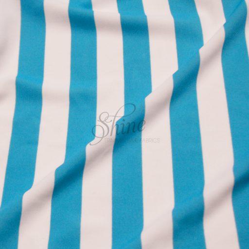Stripe Print Stretch Spandex 18mm White Aqua
