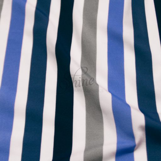 Stripe Print Stretch Spandex 17mm White Blue Grey