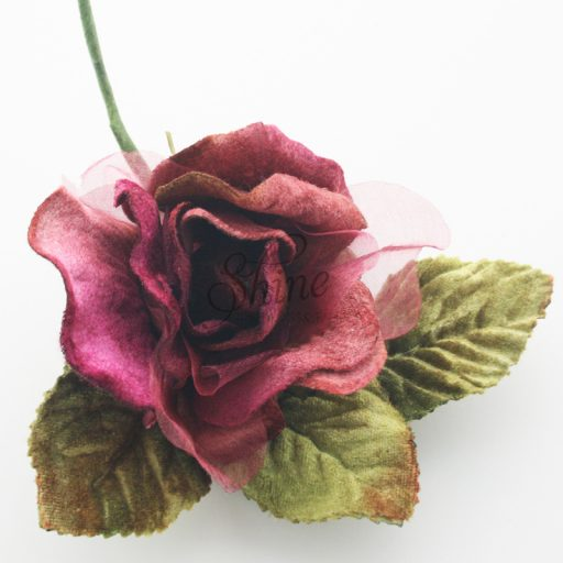 Medium Velvet and Organza Rose Burgundy