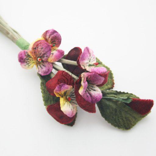 Small Wild Flower Bunch Burgundy