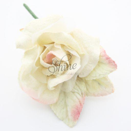 Small Velvet and Organza Rose Cream