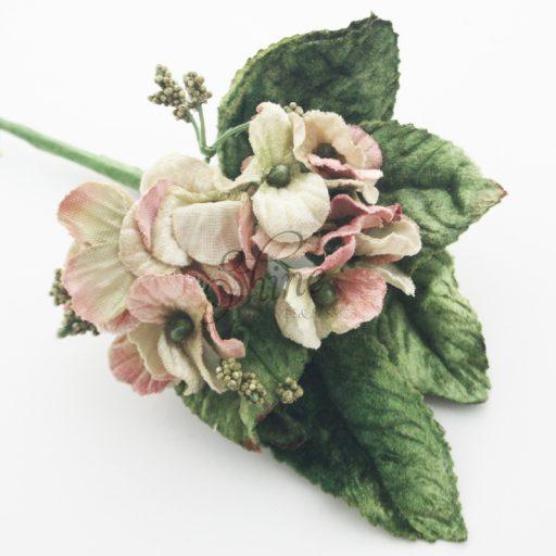 Velvet Flower Bunch with Berries Dusky Pink