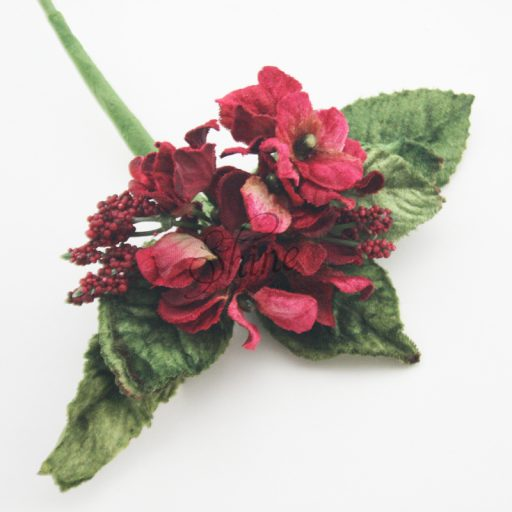 Velvet Flower Bunch with Berries Red