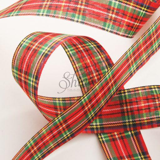 Tartan Ribbon 25mm Red/Black/Yellow
