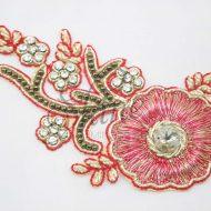 Indian Beaded Flower Motif Red