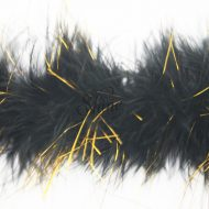 Marabou Trim Tinsel Black Gold