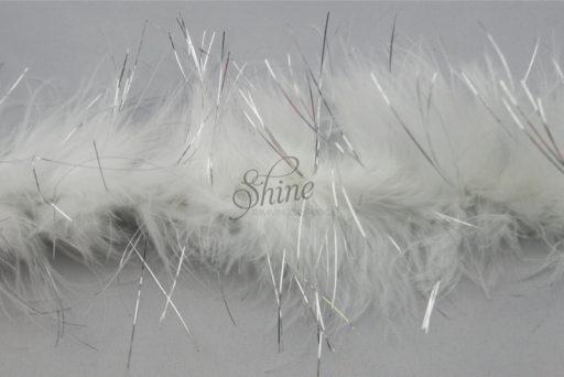 Marabou Trim Tinsel White Silver