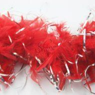 Tinsel Turkey Boa Red Silver