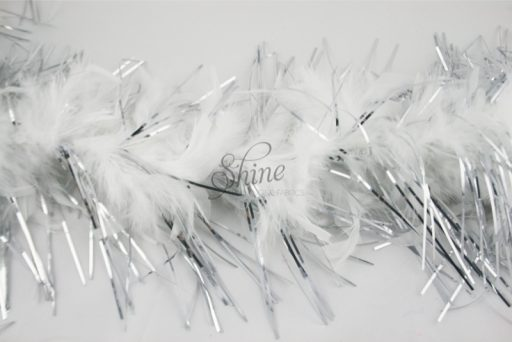 Tinsel Turkey Boa White Silver