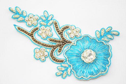 Indian Beaded Flower Motif Aqua