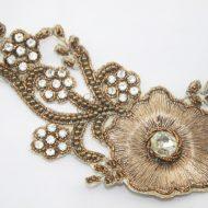Indian Beaded Flower Motif Bronze