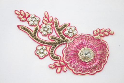 Indian Beaded Flower Motif Cerise