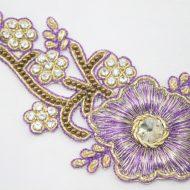 Indian Beaded Flower Motif Mauve