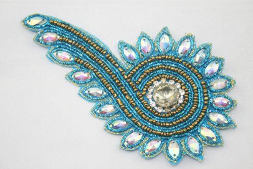Indian Beaded Swirl Motif Aqua