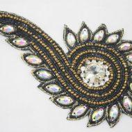Indian Beaded Swirl Motif Black
