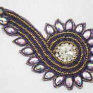 Indian Beaded Swirl Motif Purple