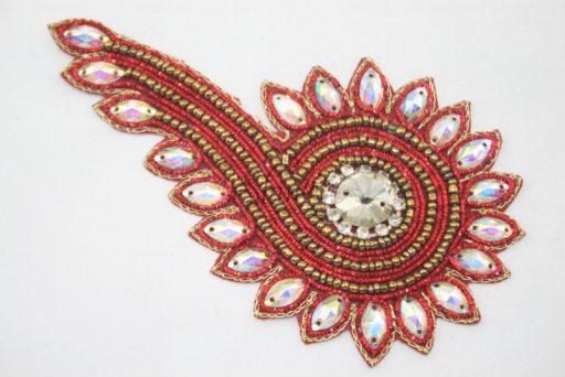 Indian Beaded Swirl Motif Red