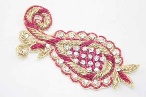 Indian Pineapple Motif with Diamante Gold Cerise