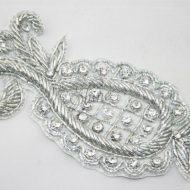 Indian Pineapple Motif with Diamante Silver