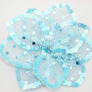3D Large Flower Motif with Pin Aqua Blue