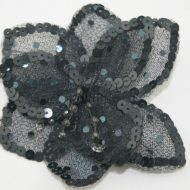 3D Large Flower Motif with Pin Black