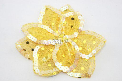 3D Large Flower Motif with Pin Lemon Yellow