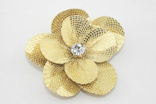 Small Flower with Diamante Centre Gold