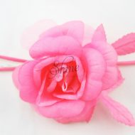 Medium Rose with Leaves Candy Pink