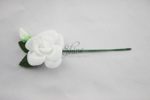 Medium Single Flower with Leaves and Bud White Green