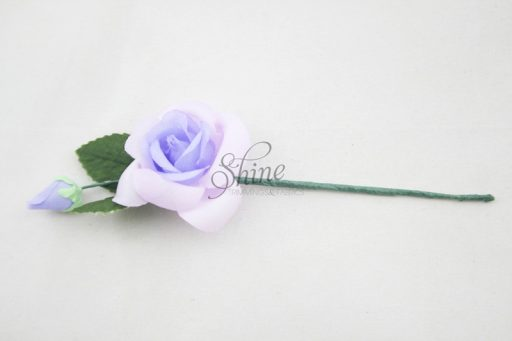 Small Rosette with Wire Stem Lilac