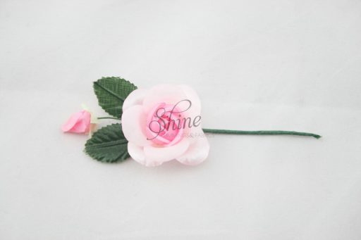 Small Rosette with Wire Stem Pink