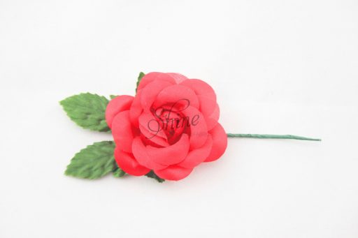 Small Rosette with Wire Stem Red