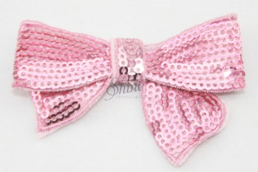 Small Sequin Bow Tie Motif Pale Pink