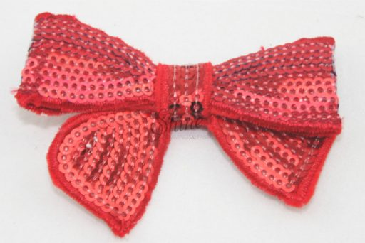 Small Sequin Bow Tie Motif Red