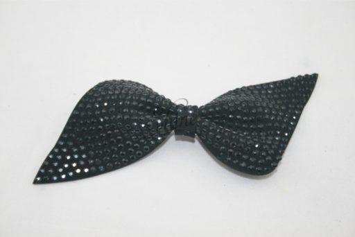 Rhinestone Bow Tie Brooch Motif Black