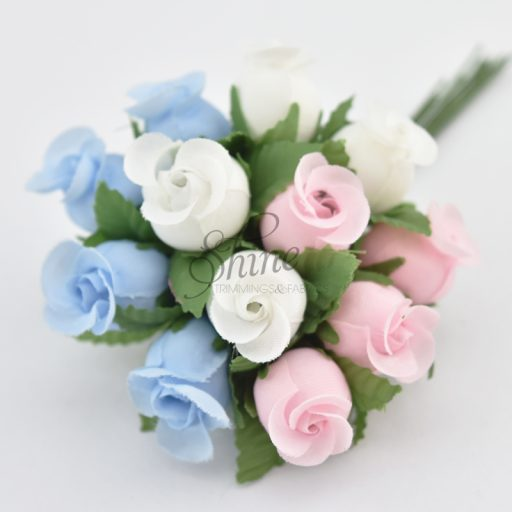 Bunch of Small Rosebuds Pale Blue/Pink/White Multi